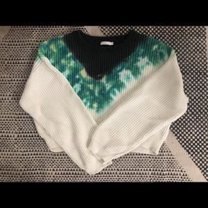 A.L.C. Tie Dye Thick Cable Knit Sweater